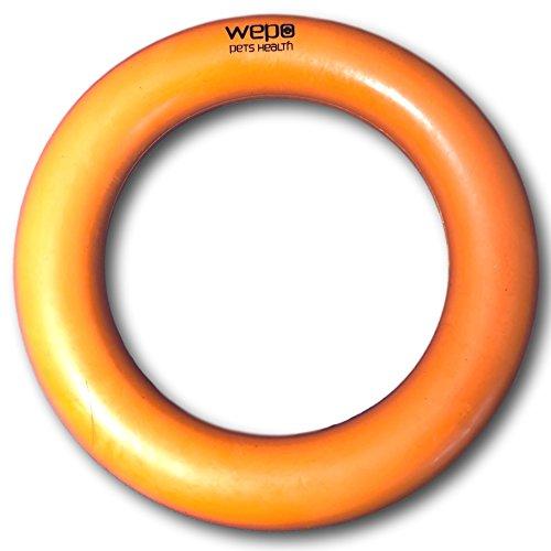 WEPO® Hundespielzeug-Ring/Robuster Naturkautschuk Kauring (Naturgummi) - Ø 15cm - für Welpen - Stabiler Hartgummiring - Welpenspielzeug - Orange