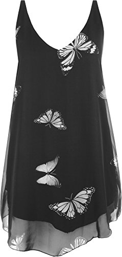 WearAll - Mujeres Gasa Mariposa Impresión Forrado Sin Mangas Inmersión Dobladillo Chaleco Top - Negro - 50-52