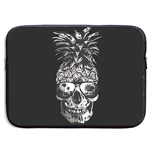 Pineapple Skull With Glasses Laptop Sleeve Case Cover Compatible Neoprene Waterproof Case Handbag For 13-15 Inch