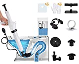 9in1 Pneumatic Plunger Kit With Inflatable Toilet Head and Waterproof Membrane, Air Drain Blaster Gun High Pressure, Detachable Assembly Sewer for Clogged Toilet Kitchen Sink Bathroom Floor Drain Pipe