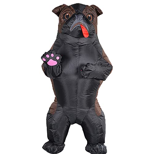Inflatable Dog Costume for Adult Blow up Puppy Costume Funny Full Body Pug Inflatable Costume (Black)