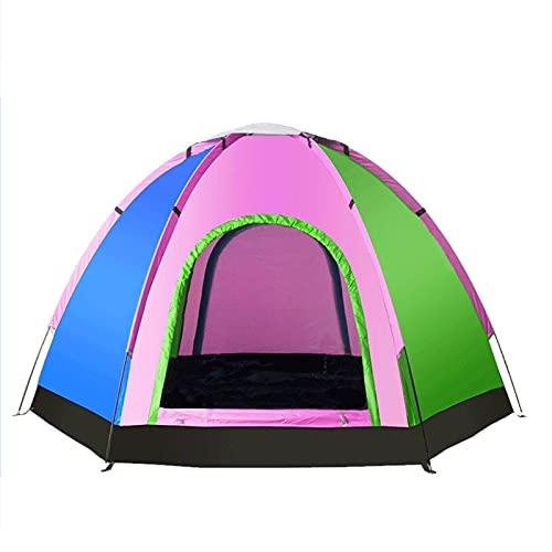 rug Tenda Esagonale da Campeggio Portatile Campeggio All'aperto Addensato A Prova di Pioggia E Solare 5-8 Persone Tenda in Alluminio 2021/7/10(Size:240x240x145cm)