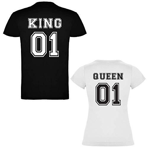 Pack de 2 Camisetas para parejas King 01 y Queen 01 (Mujer Tamaño S + Hombre Tamaño S)