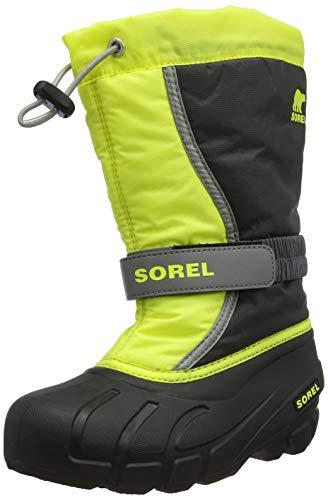 Sorel Unisex-Kinder Youth Flurry Schneestiefel, Grau/Gelb (Dark Grey/Warning Yellow), 35 EU