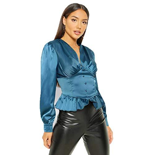 SLYZ Blusa De Camisa De Temperamento De Manga Larga con Volantes Y Cuello En V Sexy para Damas Europeas Y Americanas