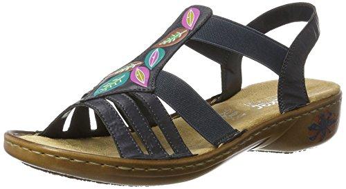 Rieker Open sandalen met sleehak voor dames, 60171, blauw oceaan 14, 38 EU