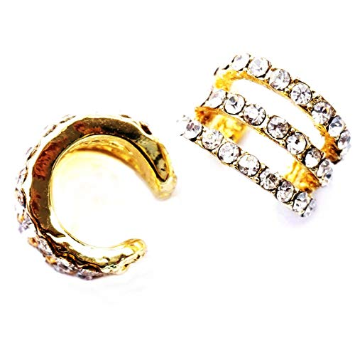 Ear cuffs aretes pendientes sin piercing puños Ear Cuffs Color dorado 3 capas gemas