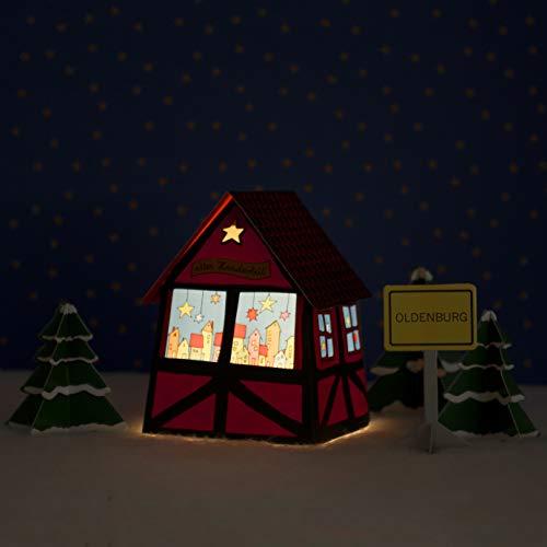 Oldenburger - Casita de Navidad con iluminación LED
