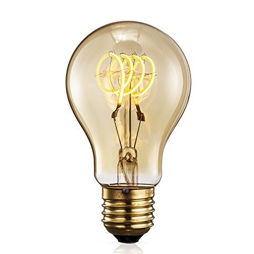TRANSTEC® A60 A19 FLEXIBLE Filament Ampoule - 4 Watt Verre Ambré Vintage Edison Maison-Deco Rétro Ampoule Blanc Chaud - Large Dimmable - Noël Valentin Fête Ampoule - E27 Culot 2200K