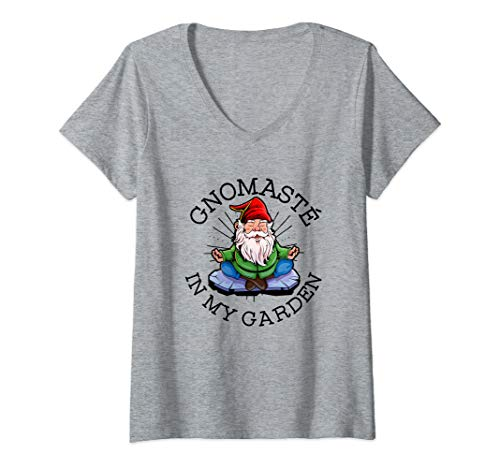 Womens Gnomaste In My Garden | Gardening Pun | Yoga Gnome V-Neck T-Shirt