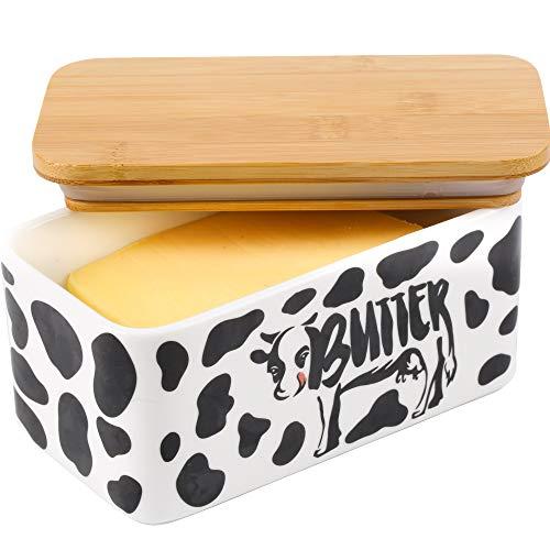 Lumicook Butterdose mit Deckel, Kuh-Butterdose mit Deckel, 2 Stäbchen, großes Tablett mit Deckel aus Bambus (schwarz)