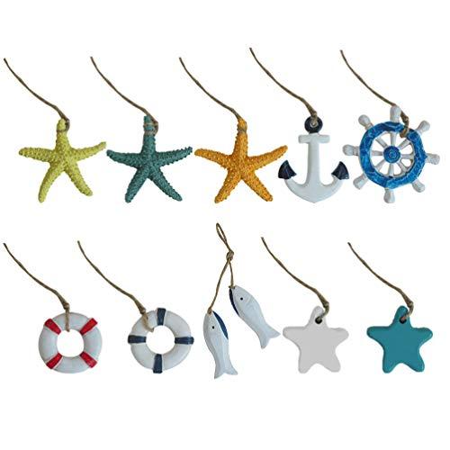 Amosfun 10Pcs Mediterranean Hanging Ornaments Christmas Tree Resin Pendant Miniature Sea Creature Boat Rudder Decorations Gift
