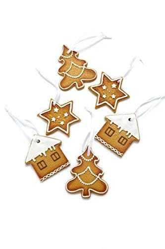 HEITMANN DECO Christbaumschmuck Lebkuchen mit Zuckerguss - Verschiedene Motive Weihnachtsdeko - 6-teilig