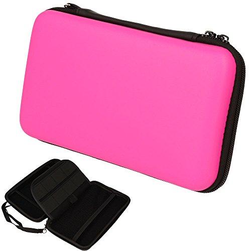 TECHGEAR 2DS XL Case Tasche für New Nintendo 2DS XL, mit Aufbewahrung, Gehäusedeckel, Hartschale, Hartschützender Reise- & Aufbewahrungskoffer für 2DS XL Konsole & Zubehör - Rosa