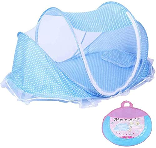 YIKANLIA Cunas de Cuna de Mosquitos, Ventana emergente para bebés, lecho de Viaje Cojín de Almohada portátil Plegable para bebés Azul recién Nacido Producto de bebé Azul