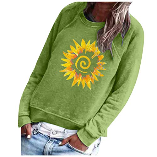 Best Bargain AHUIGOYCE Women Printing O-Neck Long Sleeve Tops Loose Pullover Sweatshirt Casual Blous...