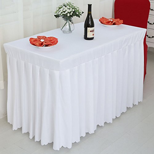 Nappes Fitted Table Skirt Cover Wedding Banquet With Top Topper Nappe-Blanc ( Couleur : Blanc , taille : 50*120*75CM )