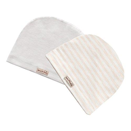 2 Stücke Baby Unisex Beanie Mütze Kinder Weiche Baumwolle Strickmützen Kleinkind Hut (Beige, 0-3 Monate Baby)