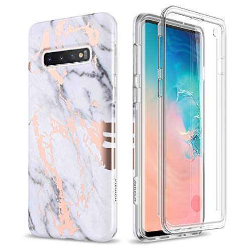 SURITCH Case for Galaxy S10,[Built-in Screen Protector]Rose Gold Marble Full-Body Shockproof Protection Rugged Cover for Samsung Galaxy S10 6.1 Inch [Compatible with Fingerprint Sensor] (Gold Marble)