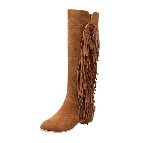 Kniehohe Stiefel Damen Flache Winterstiefel mit Fransen und Reissverschluss, Frauen Lang Boots Elegante Schuhe Langschaftstiefel Winter Warme Damenschuhe Celucke (Gelb, 39 EU)
