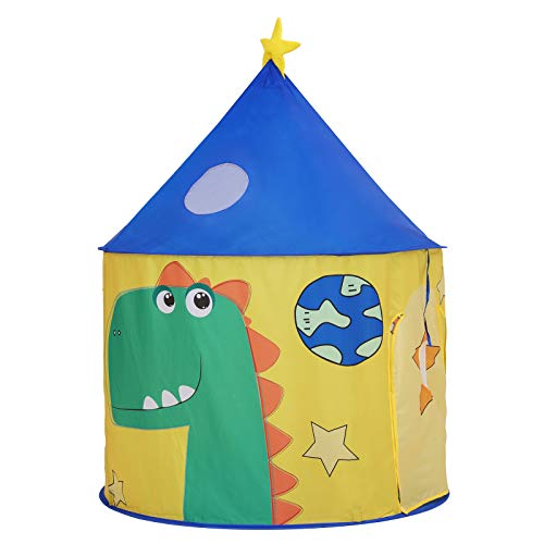 SONGMICS Play Tent for Toddlers, Indoor and Outdoor Castle, Portable Pop Up Play Teepee with Carry Bag, Dinosaur Themed Playhouse, Private Space for Up to 3 Kids LPT02YU
