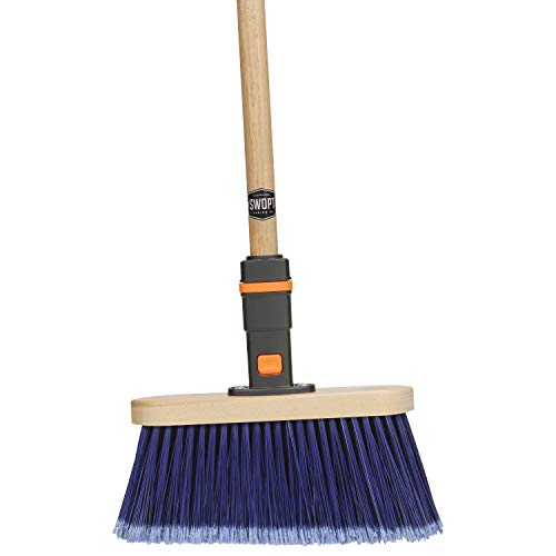 "SWOPT Premium Multi-Surface Angle Broom – 48"" Comfort Grip Wooden Handle – EVA Foam Comfort Grip Provides Stability & Comfort – Handle Interchangeable with All SWOPT Products"
