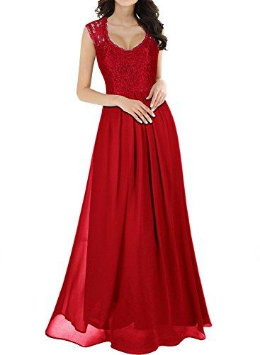 Miusol Vintage Chiffon Largo Fiesta Vestidos para Mujer Rojo Small