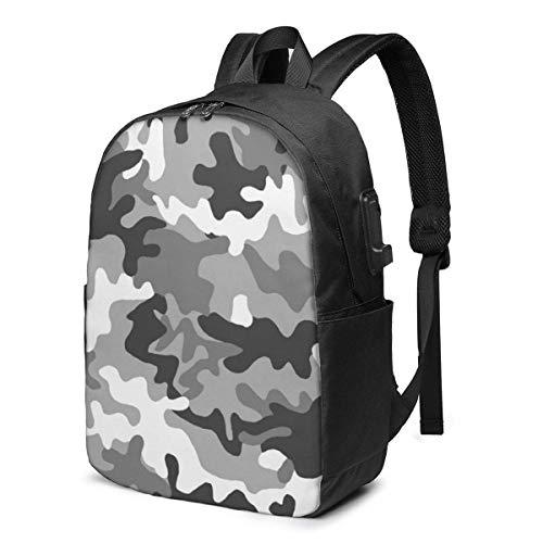 BGDFN Unisex Adolescente 17 ''Mochila USB Gris Camuflaje Multiusos Daypacks Elegante Mens Mochila para el Trabajo
