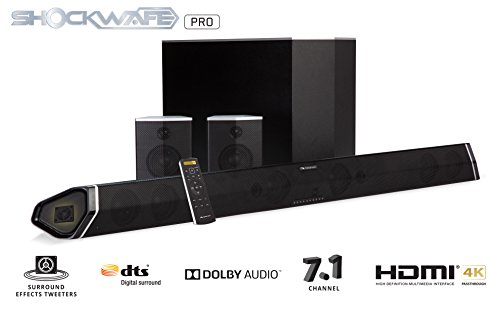 "Nakamichi Shockwafe Pro 7.1Ch 400W 45"" Sound Bar with 8"" Wireless Subwoofer & Rear Satellite Speakers"