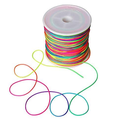Wohlstand 100m Cordón elástico,cordón de cordón de cuentas de hilo1mm,Hilo Elástico Cuerda de Abalorios Cordón Elástico,hilo de colores para bricolaje, pulsera,collar, manualidades