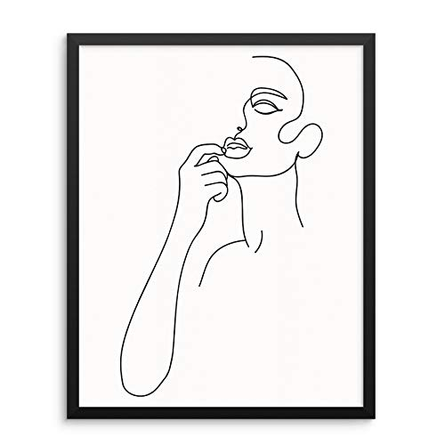 One Line Art Print Abstract Woman's Body Shape Figure Minimalist Wall Decor Poster 11'x14' UNFRAMED Modern Trendy Artwork for Bedroom Bathroom or Living Room Picture Gallery (11'x14' TOUCHING LIPS)