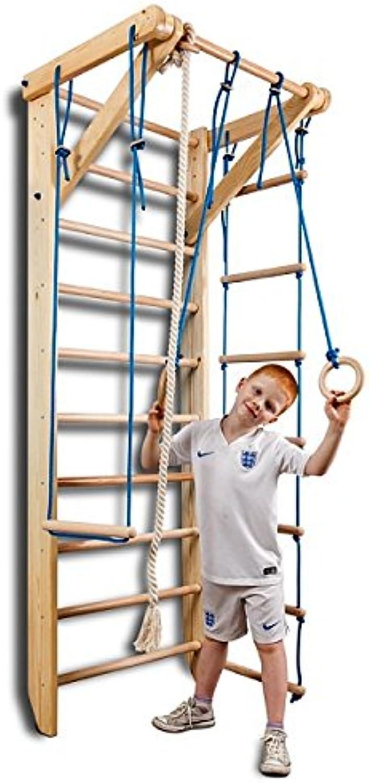 Sportgert Turnwand Kinder Gym Sport-2-220 Klettergerüst Fitness Kletterwand Holz Sprossenwand mit Stange