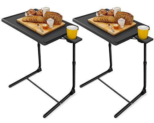LORYERGO TV Tray Table - [2 Packs] Adjustable TV Dinner Tray Tables with 6 Height & 3 Tilt Angle, Folding TV Trays with Cup Holder for Bed & Sofa, Multifunctional TV Table Tray for Eating & Reading