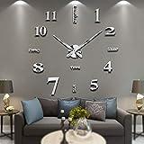 Vangold Modern Mute DIY Frameless Grande Horloge Murale 3D Mirror Sticker Metal Big Watches Décorations de Home Office-2 Ans de Garantie (argenté-14)