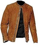HiFacon - Giacca da uomo in pelle scamosciata, in pelle di agnello, stile retrò, stile vintage, con cerniera, per motociclista, Marrone - Giacca in camoscio, XX-Small