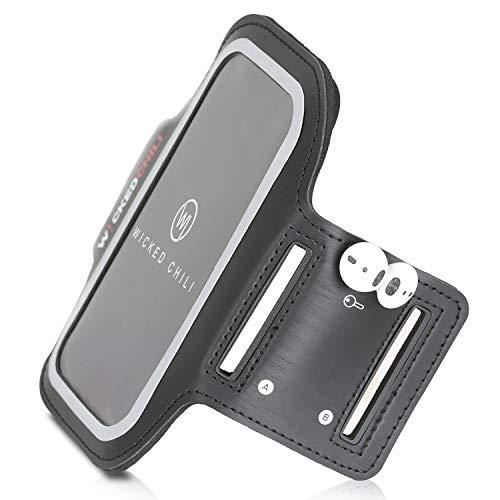 Wicked Chili Sport armband fitness geschikt voor iPhone SE 2 (2020), iPhone 11, Galaxy S20, Huawei P40 Lite en mobiele telefoon met max. 72 mm breedte (met sleutelhouder en kabelvak/zweetbestendig) zwart