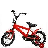 Wangkangyi Bicicleta infantil de 14 pulgadas, para niños y niñas, color rojo, ruedas de apoyo, seguridad de tres patas, clásica, sin riesgos, prueba