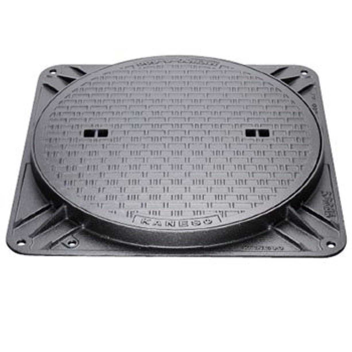 不機嫌そうなリッチテーブルを設定するカネソウ マンホール鉄蓋 水封型(角枠) 呼450 鎖付 メーカー直送 代引不可 MKH-2-450b