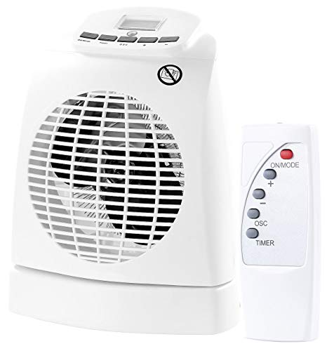 Sichler Haushaltsgeräte Heißlüfter: Heizlüfter LV-245, 2.000W, Ventilator, Oszillation, Thermostat, Fernb. (Heizlüfter mit Kühlfunktion)