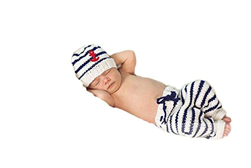 Pinbo Newborn Baby Photo Prop Crochet Sailor Navy Stripe Anchor Hat Pants