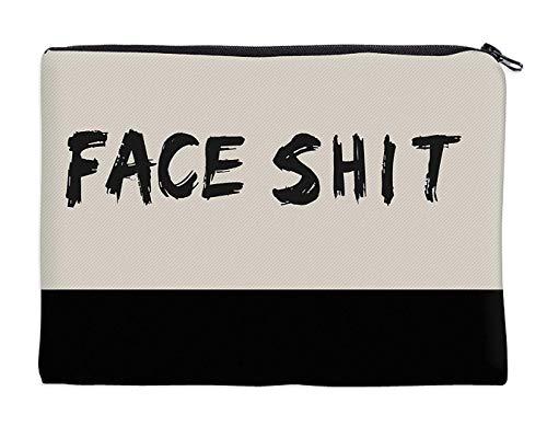 Kleine Kulturtasche Kosmetiktasche Schminktäschchen Make-Up Bag Kulturbeutel mit stylischen Print-Motiven für die Handtasche, Reisen und Urlaub (Face Shit)