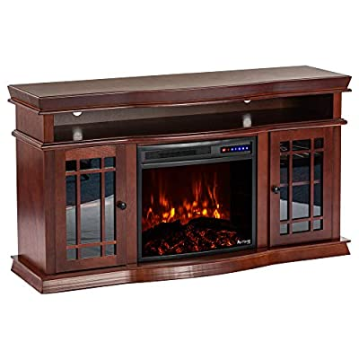 "e-Flame USA Jackson 25""x21"" LED Electric Fireplace Stove Insert with Remote - 3D Logs and Fire (Black)"