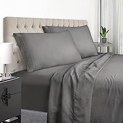 YumHome King Size Sheets Set - Super Soft Brushed Microfiber 1800 Thread Count Egyptian Sheets with 15-Inch Deep Pocket - Breathable Wrinkle and Hypoallergenic-4 Piece(King, Grey)