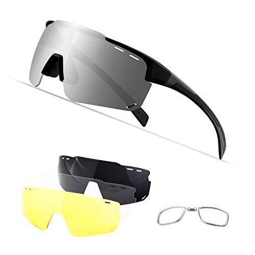 OULIQI Sportbrille Polarisierte Sonnenbrille,Radbrille Sportbrille Herren Damen, 4 Wechselgläser für Outdooraktivitäten wie Radfahren Laufen Klettern Autofahren Angeln Golf (Schwarz grau)