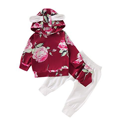 Hui.Hui Ensemble Pantalon à Manches Longues à Fleurs pour Bébé,Hiver Pas Cher Ensemble Cardigan Pull Pullover Vêtements Manteau Noël Cadeau pour Enfants