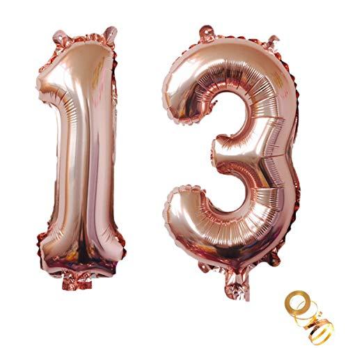 Luftballons Zahl 13, Nummer 13 Luftballon Rosegold Mädchen Luftballons 13. Geburtstag Folienballon, Zahl 13 Rose Gold Nummer 13 Ballons Große 32 Zoll Riese Heliumfolie Ballon