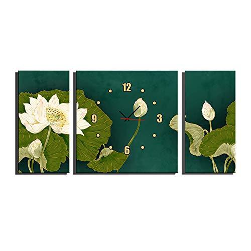 Canvas Prints 3 Stuk Muur Art Klok Home Decoratie Schilderij Gedrukt Op Doek Lotus Voor Slaapkamer Woonkamer