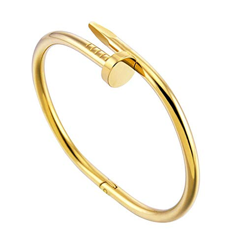 Nail Cuff Bangles Copper Bracelets for Women Stainless Steel Screw Bracelet Gold Bracelet Jewelry Women's Bracelets,Gold-color