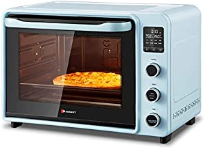 Hauswirt 42Qt Countertop Oven, 8-IN-1 Dehydrator Convection Bake Oven With Upper and Lower Heat Control, Hot Air Fan For Pizza, Cake, Ferment, Dehydrate Fruit, Roast, Rotisserie - Retro Blue