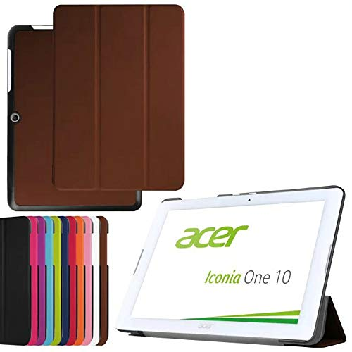 2in1 for Acer Iconia One 10 B3-A20 10.1 Inch Tablet Ultra Thin Slim Folio Stand Sleep/Wake Up Leather Case Smart Cover +1x Clear Screen Protector (Brown)